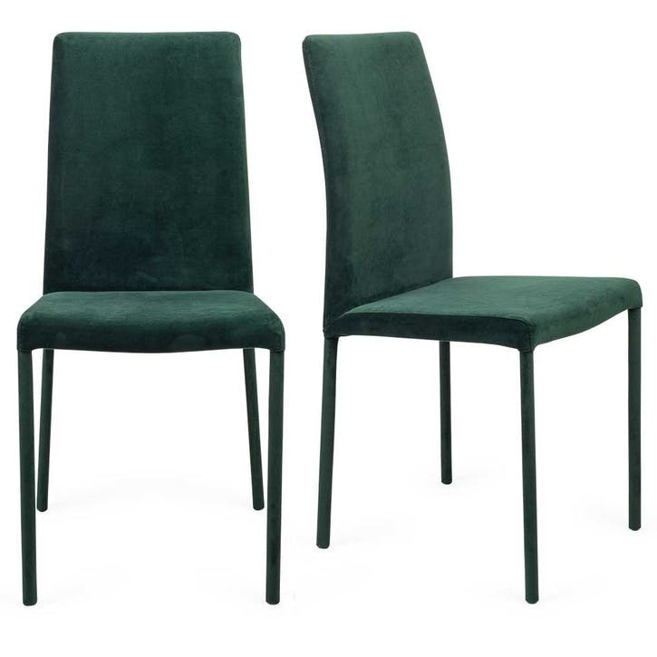 Bronte Pair of Dining Chairs; Velvet Green