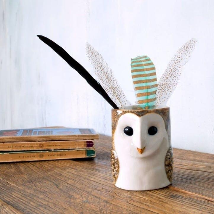 Ceramic Animal Pencil Pot, Barn Owl