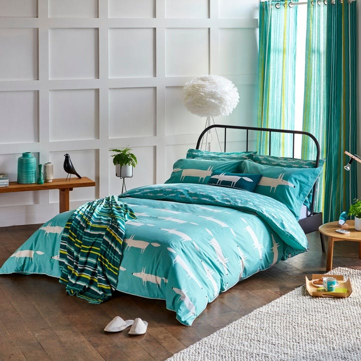 Mr Fox Double Duvet Cover, Teal