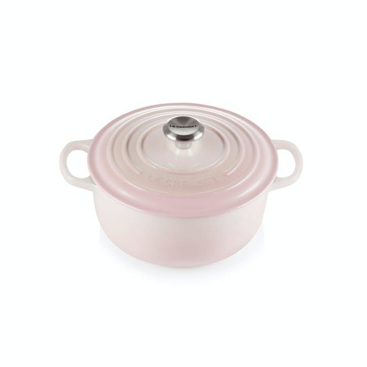 Cast Iron Round Casserole, 20cm, Shell Pink