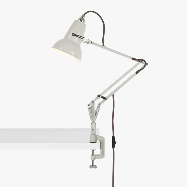 Mini Lamp with Desk Clamp Linen White