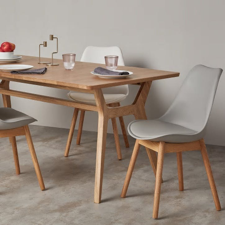 Thelma Set of 2 Dining Chairs; Oak/ White
