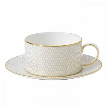 Arris White Teacup And Saucer