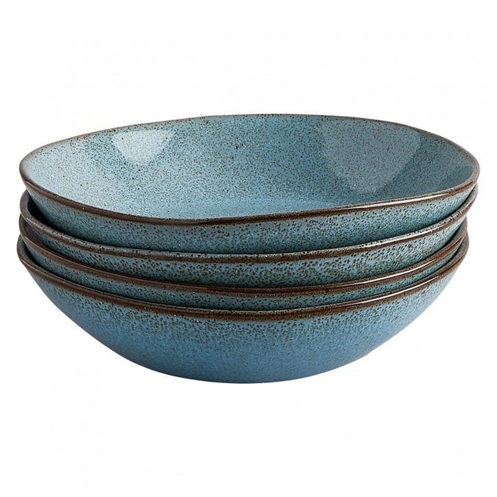 Olmo Pasta Bowl, Set of 4, Turquoise