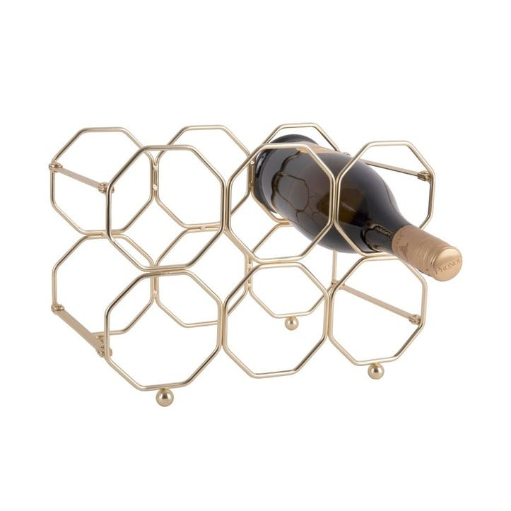 Honeycomb Wine Rack, Gold