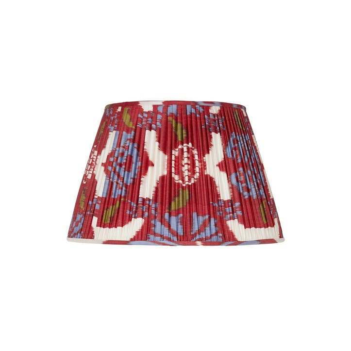 Red Silk Ikat Lampshade, 35cm