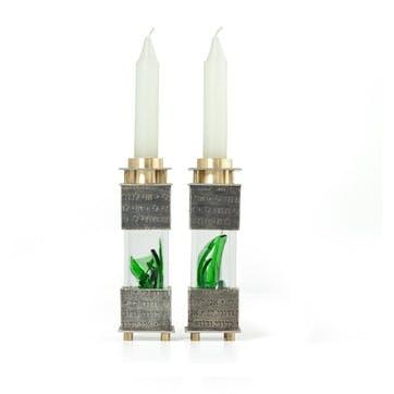 Crushed Wedding Glass Candlesticks