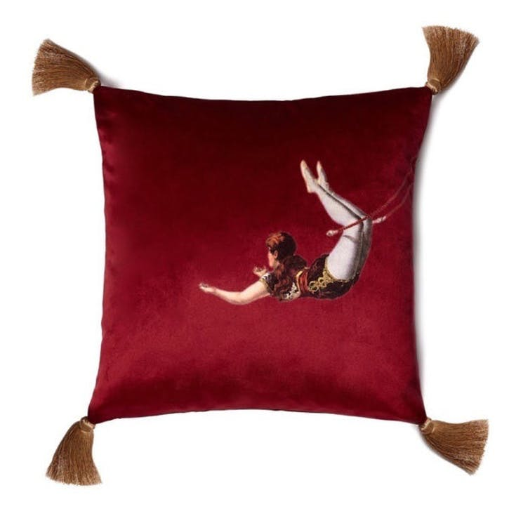 Trapeze Girl Velvet Cushion, Berry Red