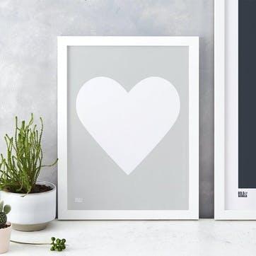 Love Heart Print; White on Light Grey