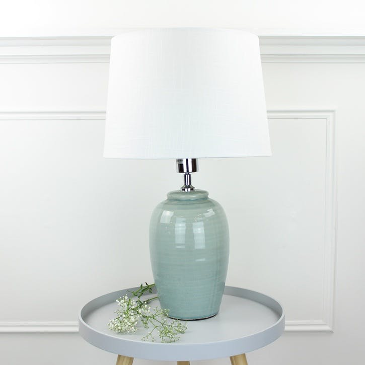 Soft Green Table Lamp with Shade