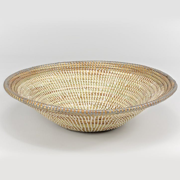 Handwoven Bowl, Large, Natural/Grey Rim