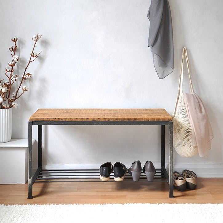 Reclaimed Wood And Steel Shoe Rack / Bench - 70 x 49cm; Natural