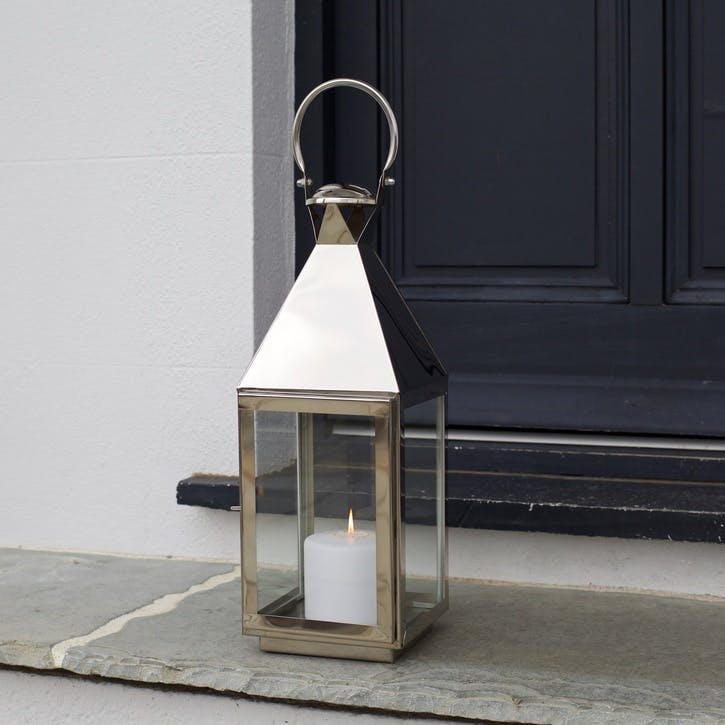 Topsham Stainless Steel Pillar Candle Lantern, Small