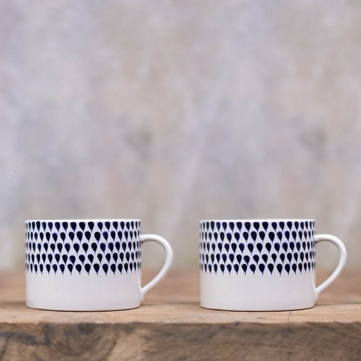 Indigo Drop Mug, Set of 2, Large