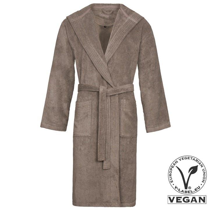 Vegan Life Unisex Hooded Bath Robe, Pebblestone