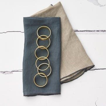 Set of 6 Brass Napkin Rings