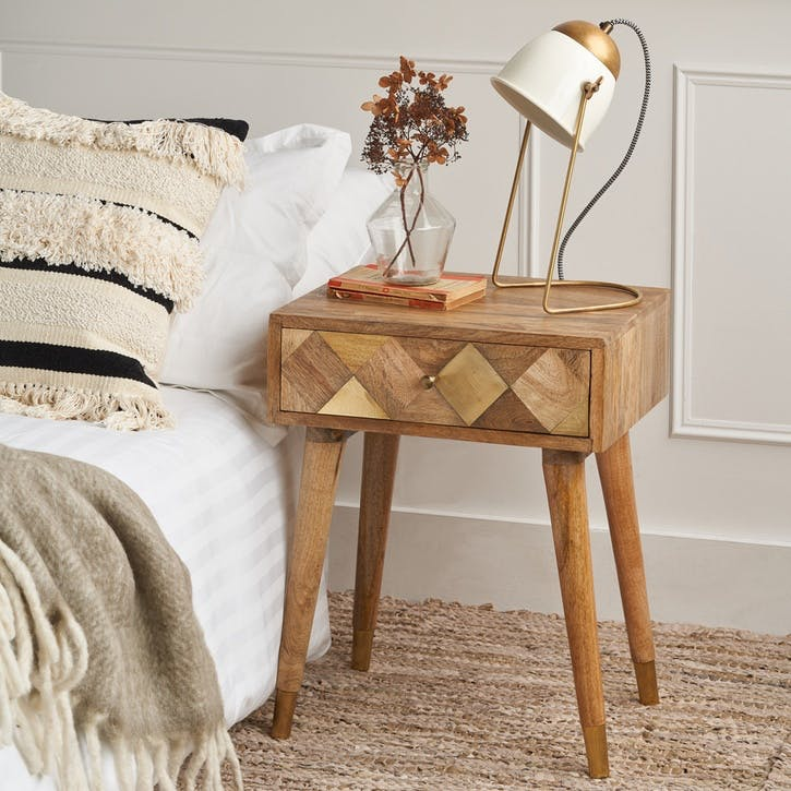 Geometric Brass Insert Bedside Table
