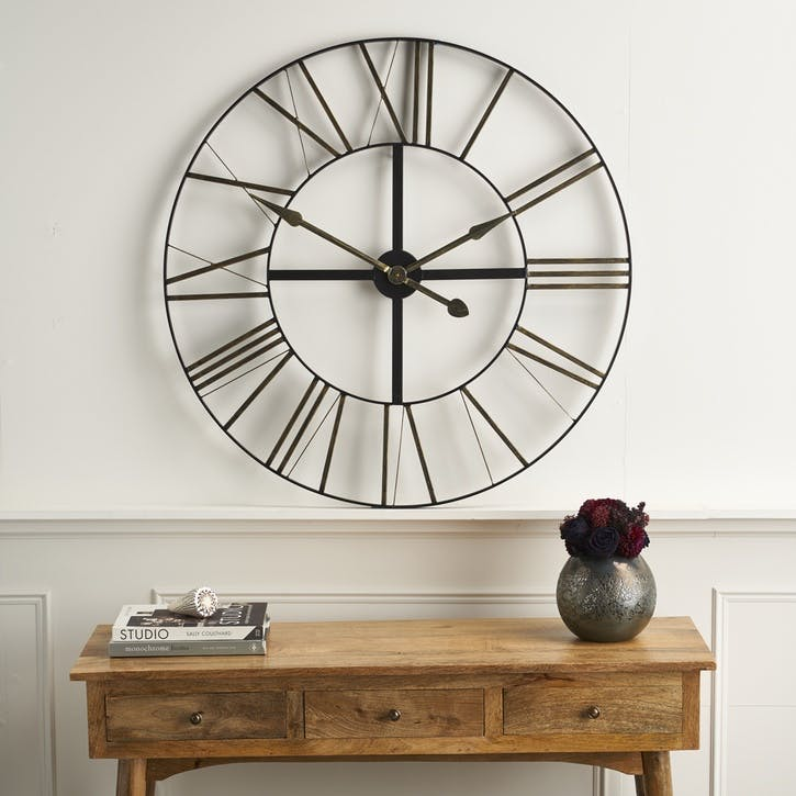 Large Distressed Metal Skeleton Clock
