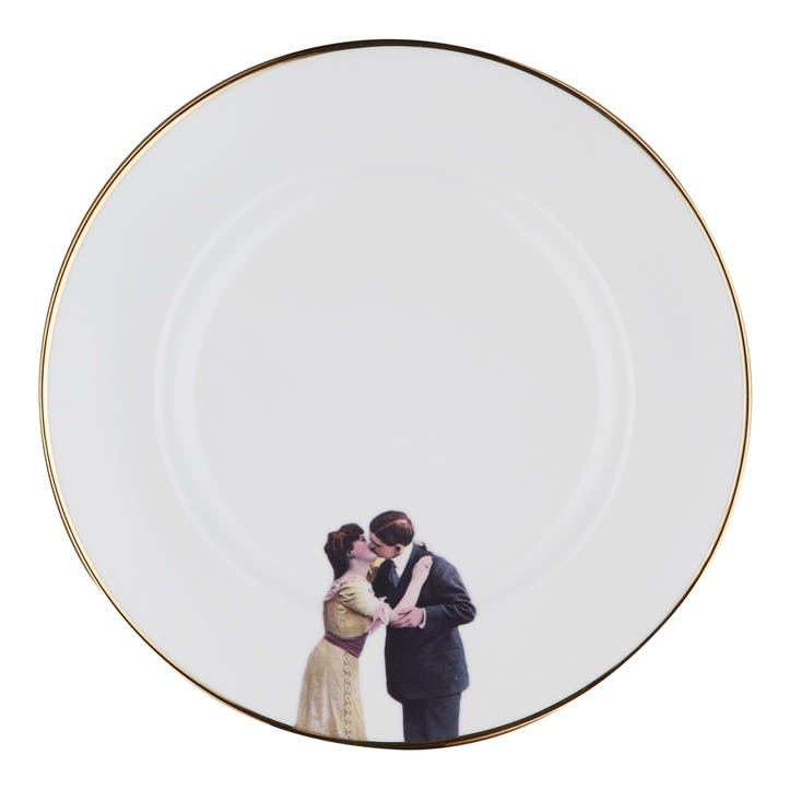Modern Surrealist Kissing Couple Dinner Plate