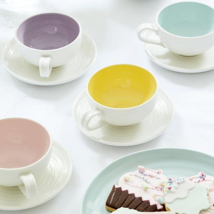 Colour Pop Tea Cup & Saucers, Set of Four; Mulberry