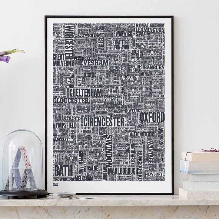 Type Map Screen Print Cotswolds and Beyond, 50cm x 70cm, Sheer Slate