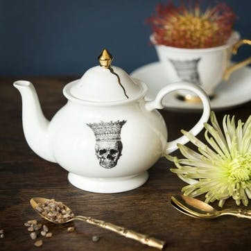 Rock and Roll Skull in Crown Teapot, 2 Cup