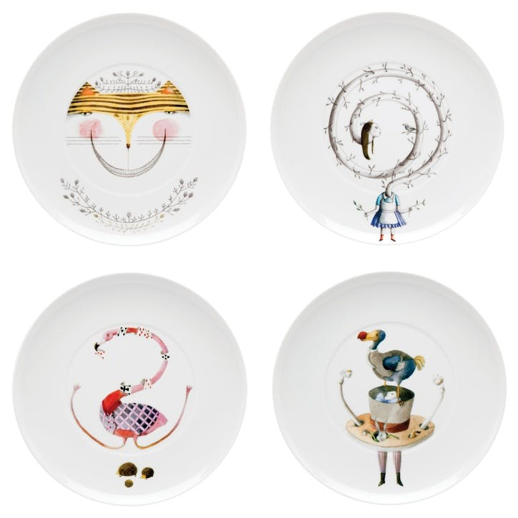 Tea With Alice Mixed Dessert Plates, Set of 4