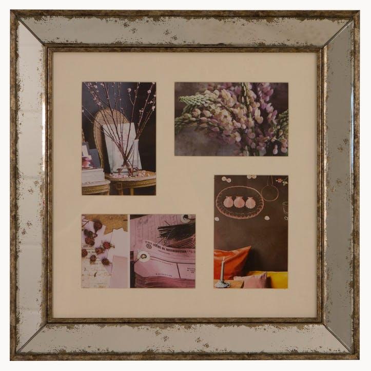 Hanging Photo Frame, 4 Aperture, Antiqued Glass