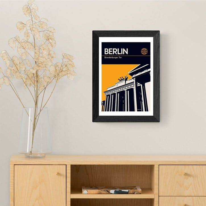 Reign and Hail, Berlin, Framed Art Print, H48 x W37 x D2cm, Black