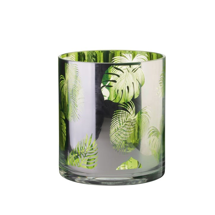 Tropical Leaves Hurricane Lamp, Small