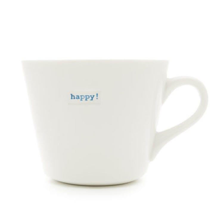 'Happy!' Bucket Mug, 350ml