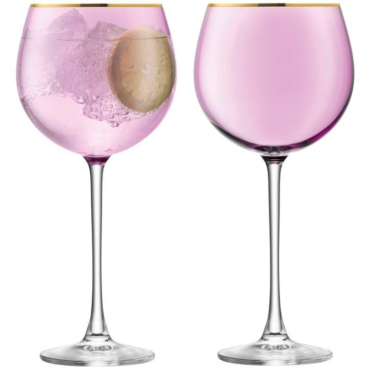 Sorbet Set of 2 Balloon Glasses; Rose