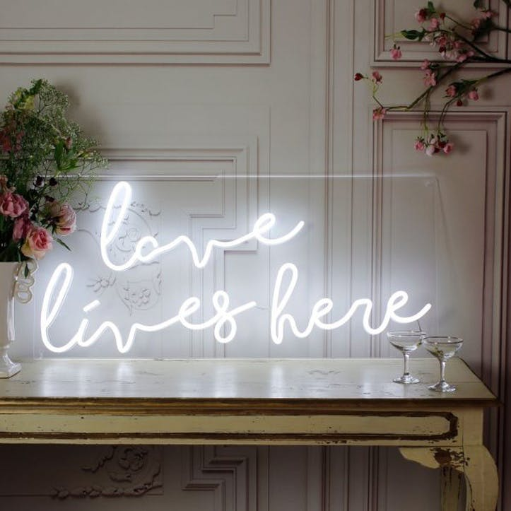 'Love Lives Here' LED Neon Light
