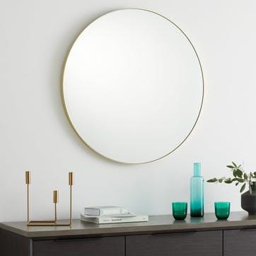 Arles round mirror, Brass