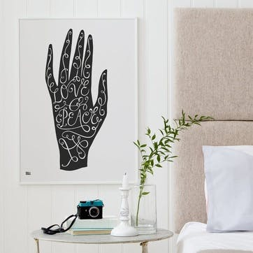 'Love & Peace Hand' Art Print - 50 x 70cm; Soft Black