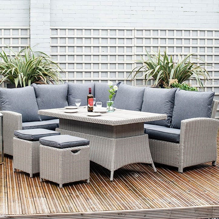 Barbados Corner Set with Relaxed Dining and Adjustable Table, Stone Grey