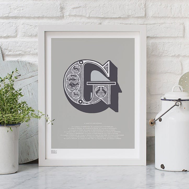 Illustrated Letter G Screen Print, 30cm x 40cm, Putty