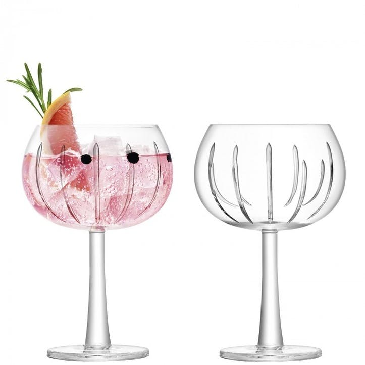 Gin Cut Balloon Glass Set of 2, Ray Cut