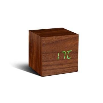 Cube Click Clock Walnut/ Green LED, 6.8cm