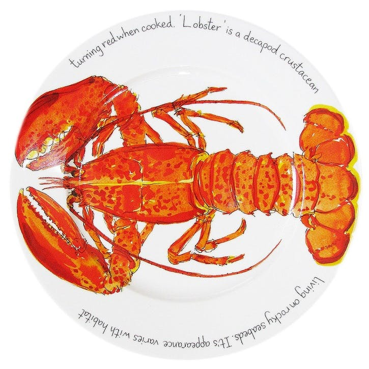 Red Lobster Flat Rimmed Plate - 30cm