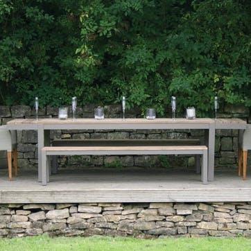 Reclaim Teak Outdoor Bench; Natural/Soft Grey