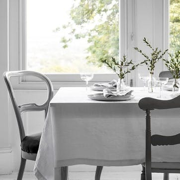 Mitered Hem Tablecloth, White, 140 x 180cm