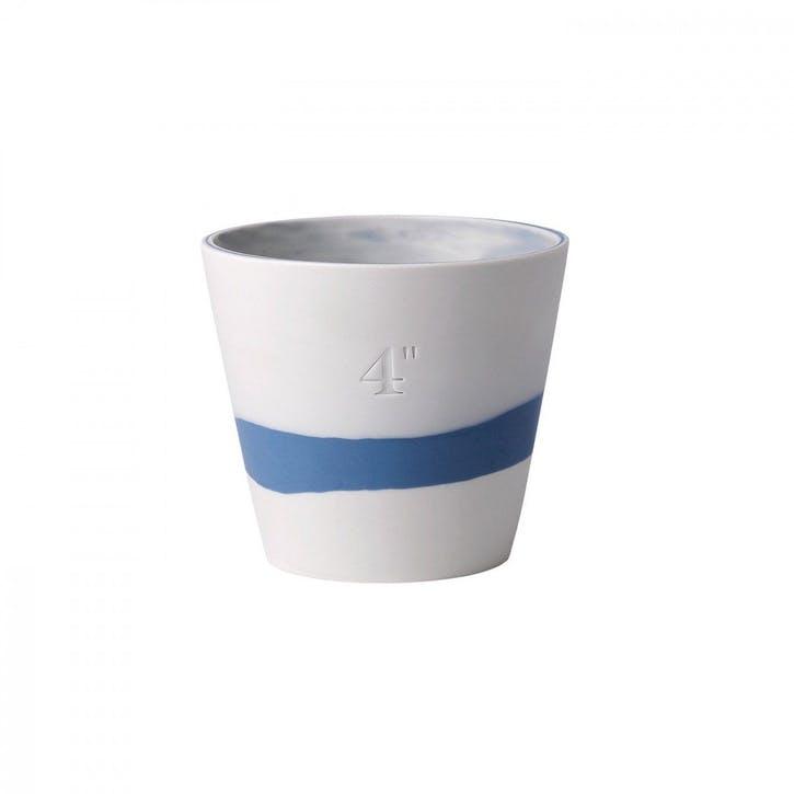Burlington Pot Pale Blue on White Pot 4inch
