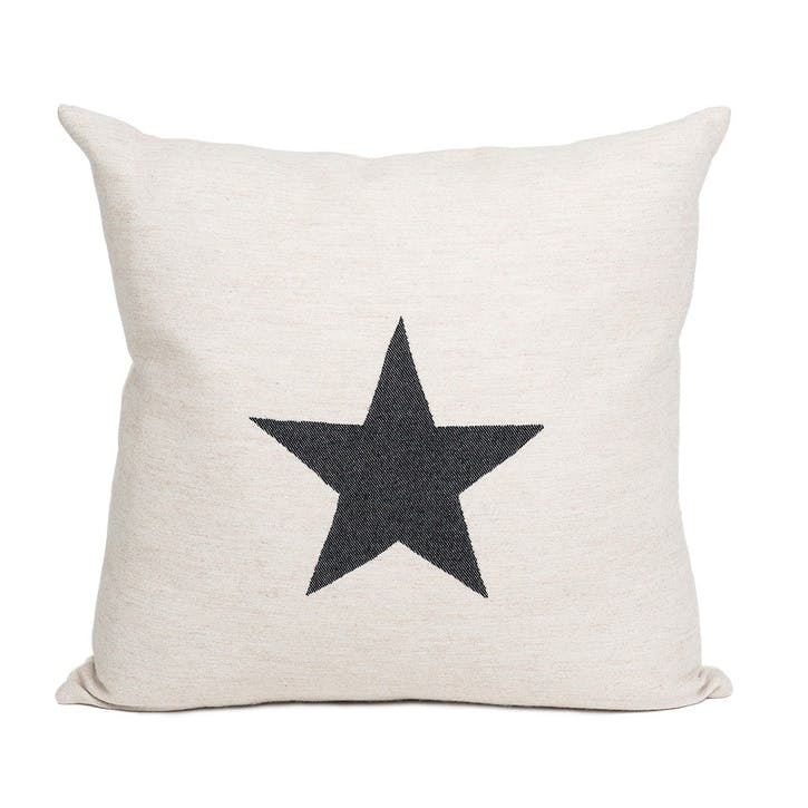 Large Antares Star Cushion - 50cm; Black On Linen