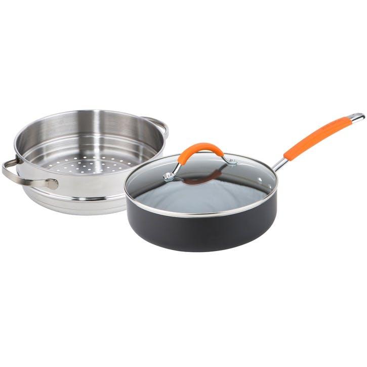 Easy Release Non-Stick Sauté and Steamer Multipan, Orange