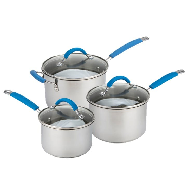Quick & Even Stainless Steel Set, 3 Piece, Blue