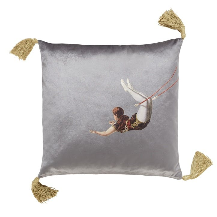Trapeze Girl Velvet Cushion, Shark Grey