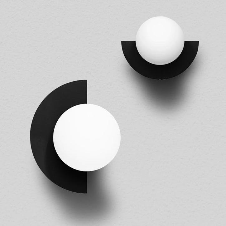 Large C, Plug in Wall Lamp, H37 x W30 x D29cm, Black