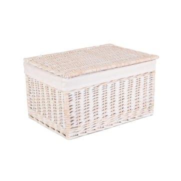 White Wash Lined Storage Hamper, Extra Large