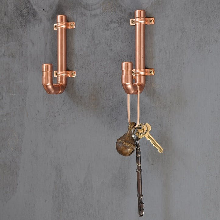 Industrial Copper Coat Hook - 13 x 6.5cm; Copper